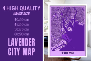 Tokyo - Japan Lavender City Map Graphic Photos By pacitymap