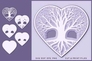 Tree Heart Svg, Cut File, Multilayer Graphic 3D SVG By 2dooart