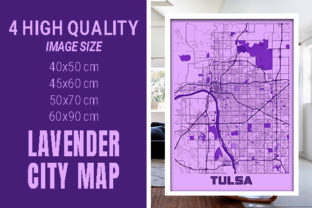 Tulsa - United States Lavender City Map Graphic Photos By pacitymap