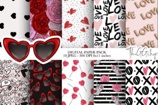 Print on Demand: Valentine's Day Digital Paper Pack Graphic Patterns By TheGGShop 1