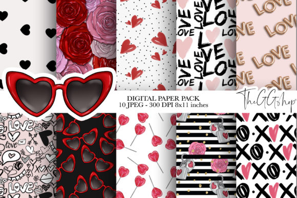 Print on Demand: Valentine's Day Digital Paper Pack Graphic Patterns By TheGGShop