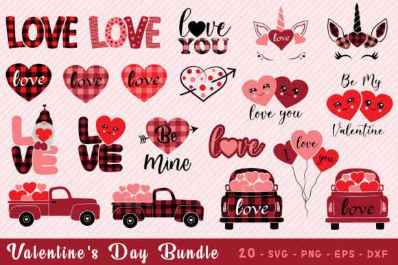 Valentines Day SVg, Buffalo Plaid Bundle Graphic Crafts By All About Svg