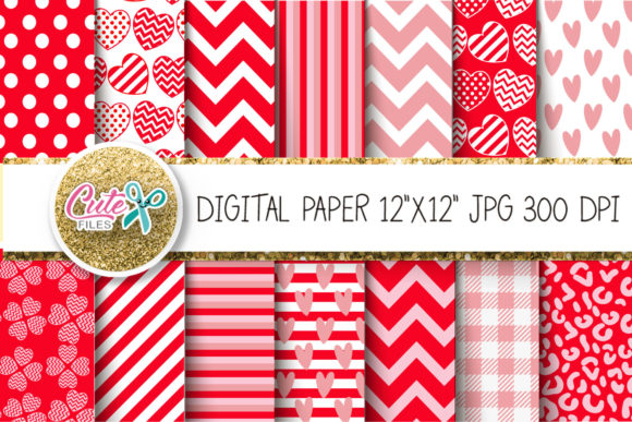 Valentine's Day Digital Paper Graphic Textures By Cute files