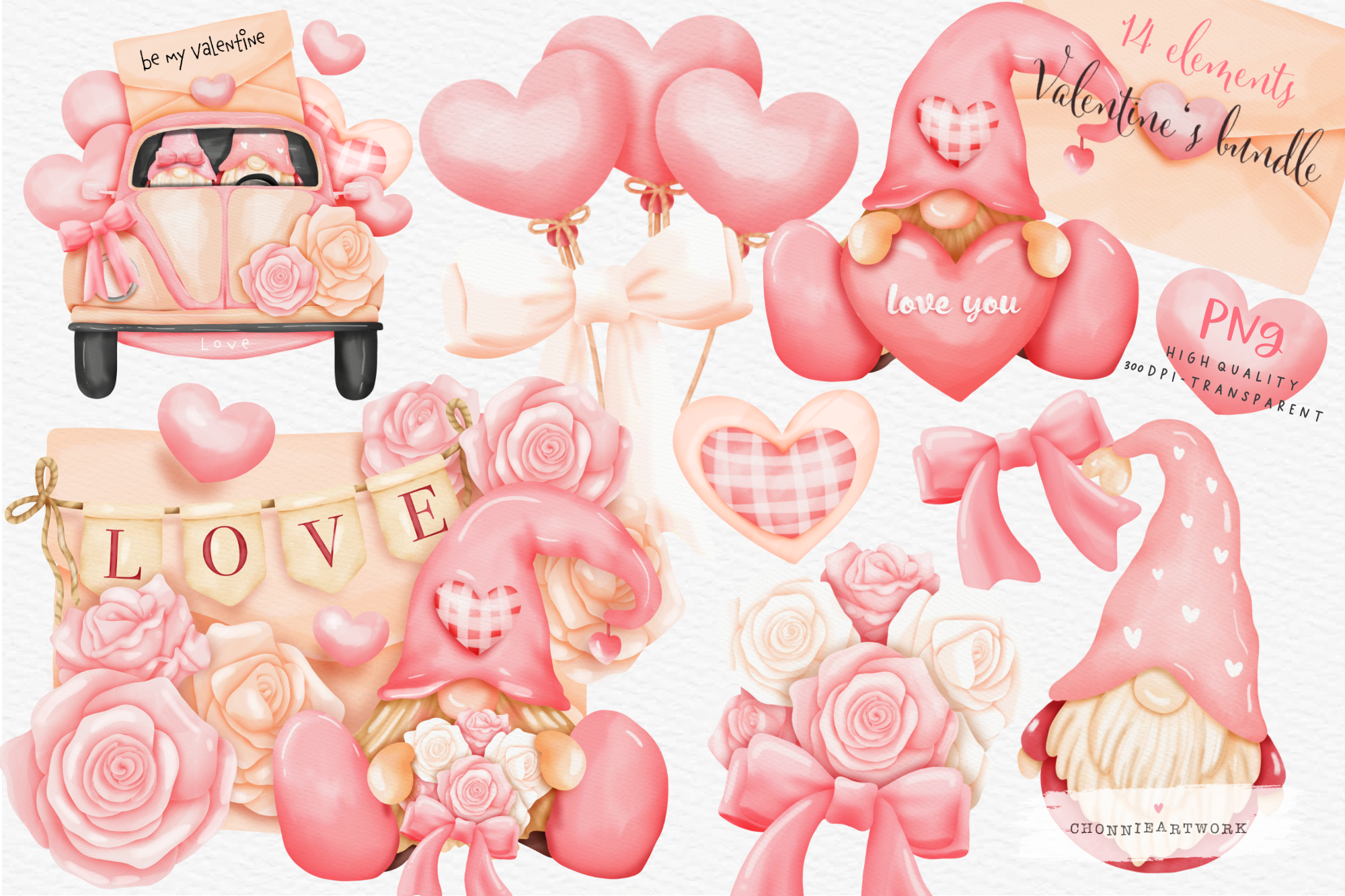 Valentine's Day Bundle with Gnome SVG File