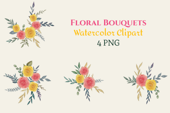 Watercolor Red Yellow Floral Bouquets Graphic Illustrations By roosmom