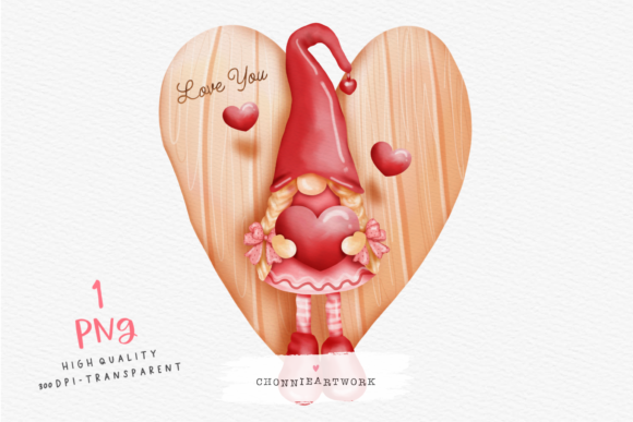 Watercolor Valentine's Day Gnome Heart Graphic Crafts By Chonnieartwork