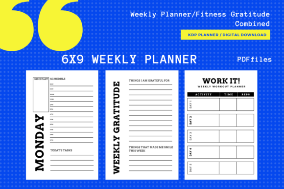 Print on Demand: Weekly Planner KDP 1 Month/3 Month Diary Graphic KDP Interiors By MarinovaDesigns