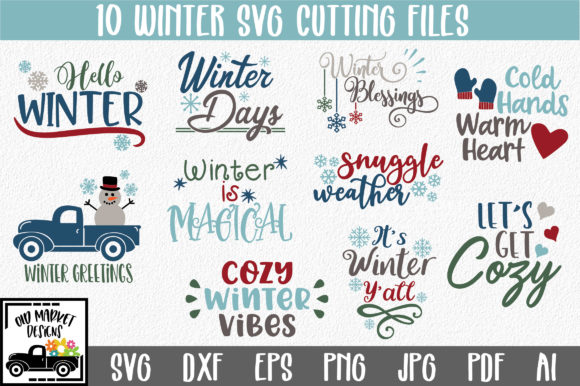 Print on Demand: Winter SVG Cut File Bundle Graphic Crafts By oldmarketdesigns