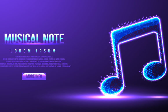 Print on Demand: Musical Note, Instrument Low Poly Graphic Backgrounds By ojosujono96