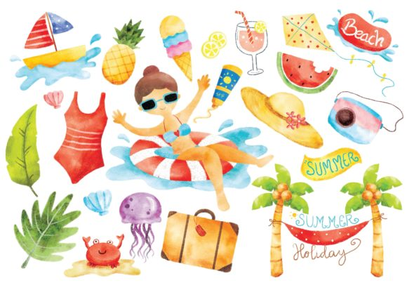 Summer Doodle Digital Water Color Graphic Illustrations By Big Barn Doodles