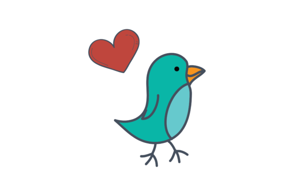 Print on Demand: Valentines Love Bird Illustration Svg Gráfico Ilustraciones Por Genta Illustration Studio