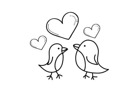 Print on Demand: Valentines Love Bird Illustration Svg Graphic Illustrations By Genta Illustration Studio