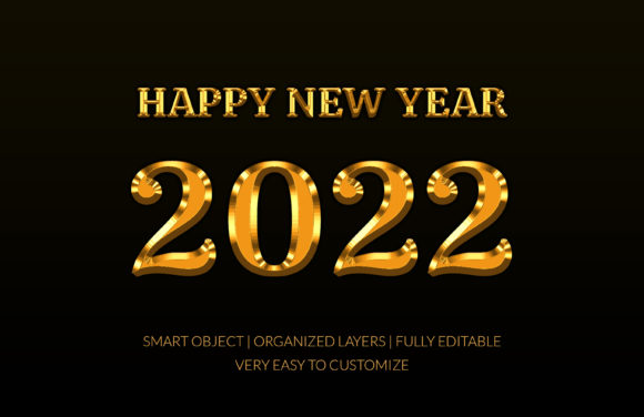 2022 Golden Style Text Effect Graphic Graphic Templates By GraphicHut
