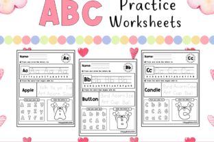 Abc Practice Worksheets For Kindergarten Graphic By Happy Kiddos Creative Fabrica - 45+ Kindergarten Practice Worksheets Images