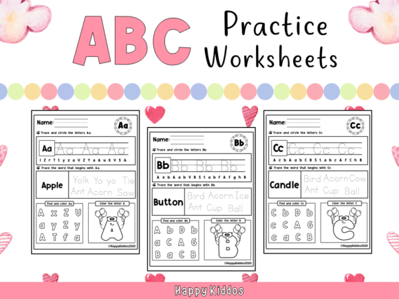 ABC Practice Worksheets for Kindergarten Graphic K By Happy Kiddos