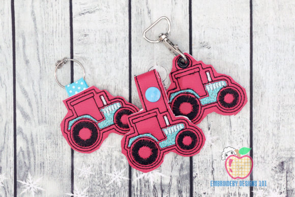 Agricultural Tractor ITH KeyFob Snaptab Transportation Embroidery Design By embroiderydesigns101