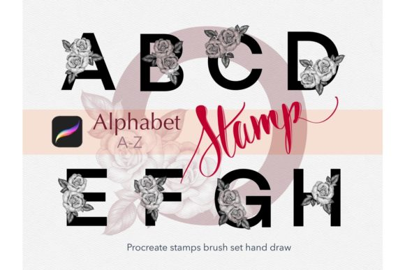 Alphabet Stamps Brush Procreate Graphic Brushes By tasmalee.art
