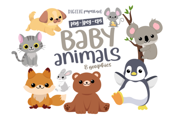 Print on Demand: Baby Animals Clipart Grafik Illustrationen von DigitalPapers