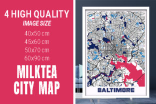 Baltimore - Maryland MilkTea City Map Graphic Photos By pacitymap