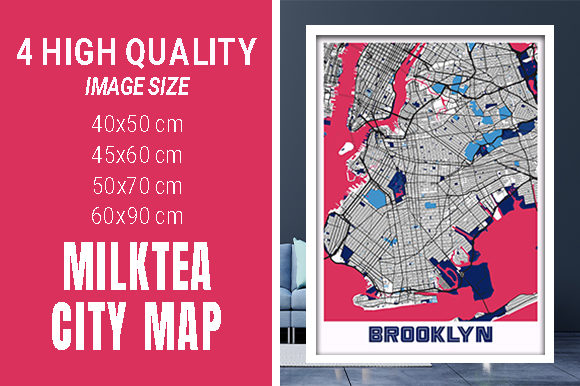 Brooklyn - United States MilkTea City Graphic Photos By pacitymap