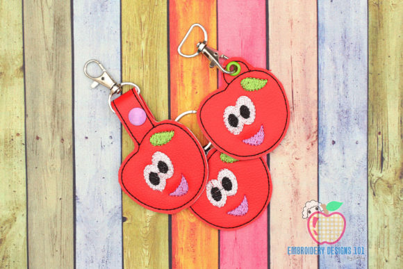 Cartoon Juicy Cherry Keyfob Keychain ITH Food & Dining Embroidery Design By embroiderydesigns101