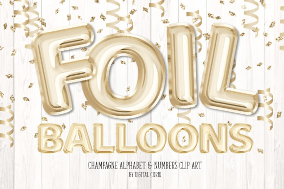 Print on Demand: Champagne Foil Balloon Alphabet Clipart Graphic Illustrations By Digital Curio