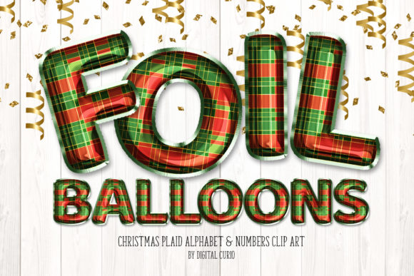 Print on Demand: Christmas Plaid Foil Balloon Alphabet Graphic Illustrations By Digital Curio