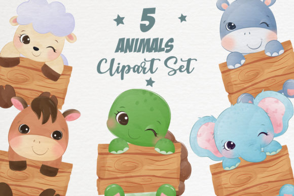 Cute Animals Clipart Set Graphic Graphic Illustrations By DrawStudio1988