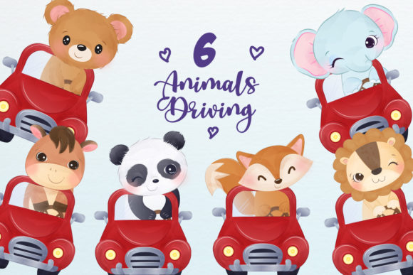 Cute Animals Driving Clipart Set Graphic Illustrations By DrawStudio1988