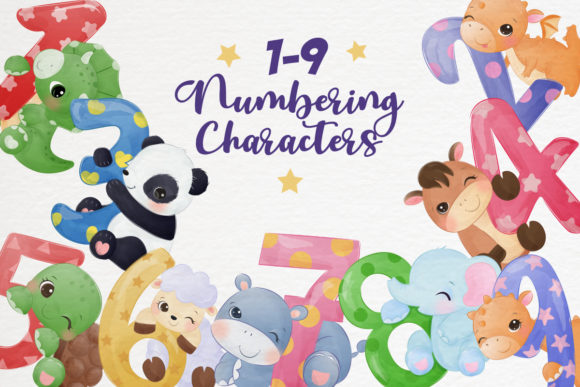 Cute Animals Numbering Clipart Set Graphic Illustrations By DrawStudio1988