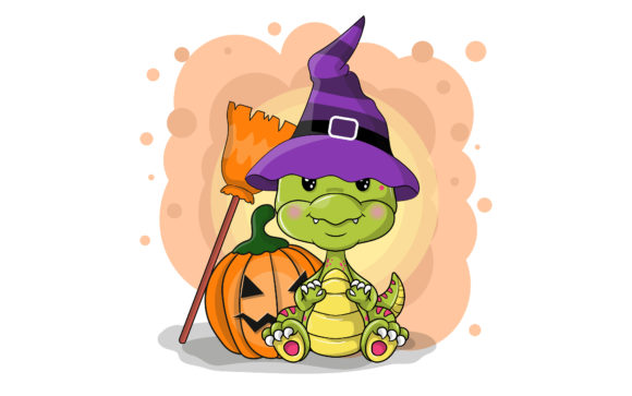 Cute Cartoon Halloween Dinosaur Graphic Illustrations By maniacvector