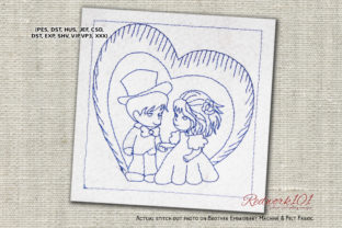 Cute Couple with Heart Lineart Wedding Designs Embroidery Design By Redwork101
