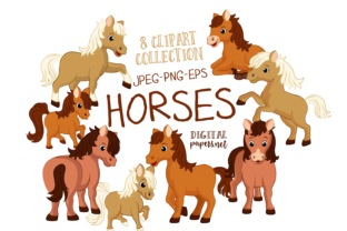 Print on Demand: Cute Horses Graphic Illustrations By DigitalPapers