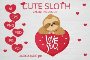 Cute Sloth Valentine Design Graphic Illustrations By sombrecanari