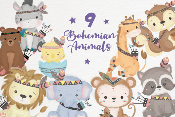 Cute Tribal Animals Clipart Set Graphic Illustrations By DrawStudio1988