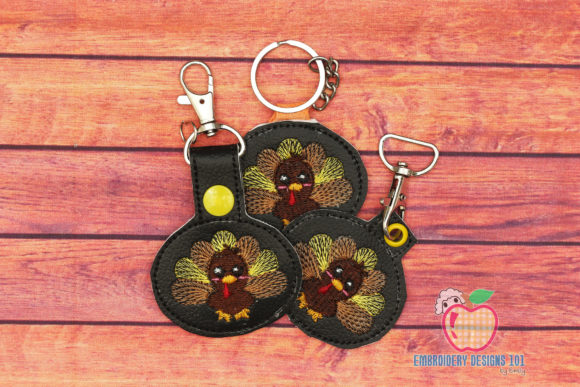 Cute Turkey in the Hoop Keyfob Thanksgiving Embroidery Design By embroiderydesigns101