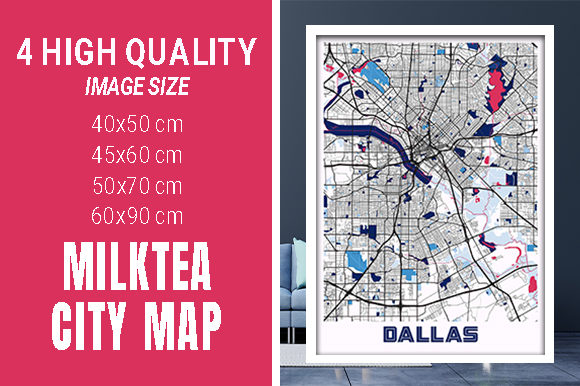 Dallas - United States MilkTea City Map Graphic Photos By pacitymap