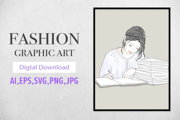Print on Demand: Fashion Graphic Girl Writes a Diary Book Graphic Illustrations By Saydung89