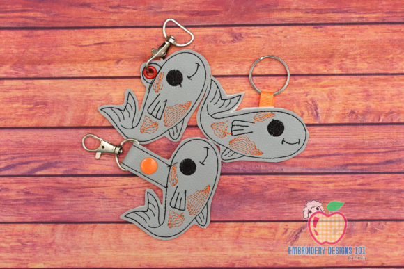 Fish with Fins Keyfob Keychain ITH Fish & Shells Embroidery Design By embroiderydesigns101