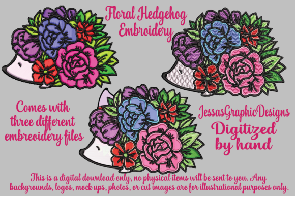 Print on Demand: Floral Hedgehog Woodland Animals Embroidery Design By JessasGraphicDesgins