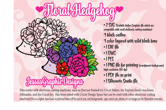 Print on Demand: Floral Hedgehog Graphic Crafts By JessasGraphicDesgins