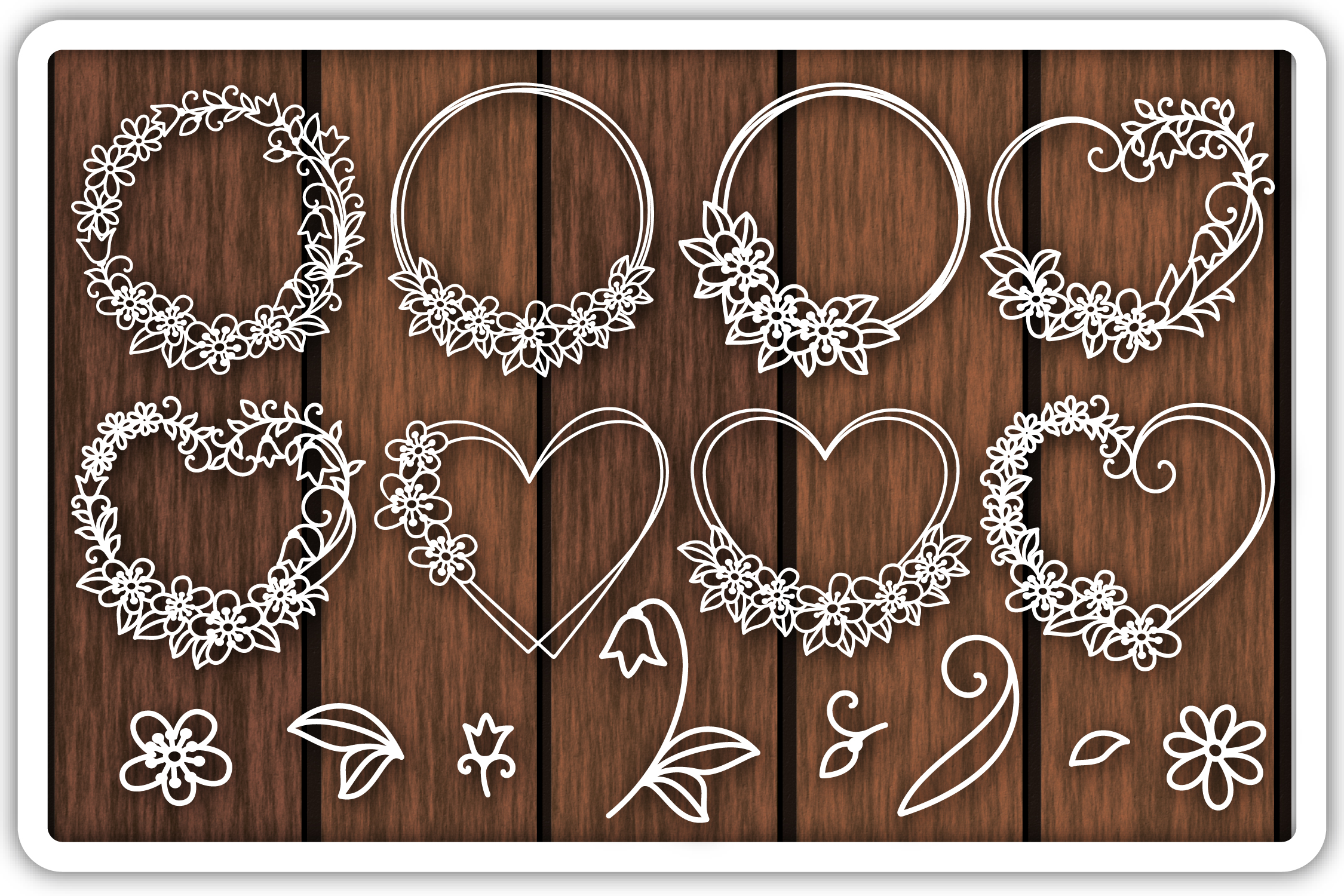 Floral Wreath Cutting Templates, Flowers SVG File