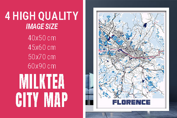 Florence - Italy MilkTea City Map Graphic Photos By pacitymap