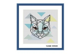 Print on Demand: Geometric Cat Scandinavian Cross Stitch Gráfico Patrones de punto de cruz Por Tango Stitch
