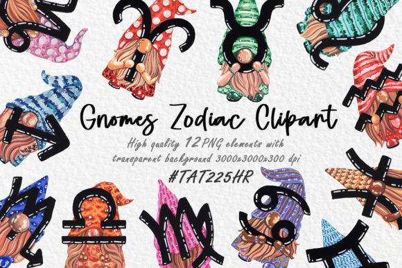 Gnomes Clipart Gnomes Zodiac Big Set Graphic Illustrations By Tat225hr
