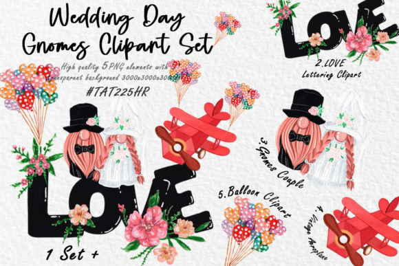 Gnomes Wedding Clipart , Wedding Set Graphic Illustrations By Tat225hr