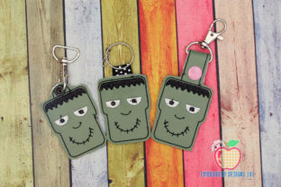 Gost Face ITH Key Fob Pattern Halloween Embroidery Design By embroiderydesigns101