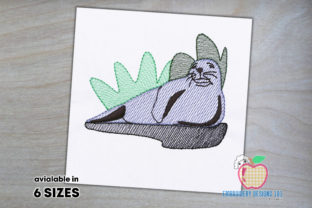 Gray Seal Lying on Beach Quick Stitch Marine Mammals Embroidery Design By embroiderydesigns101
