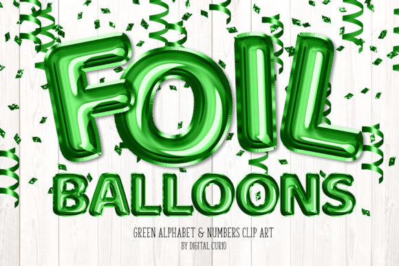 Print on Demand: Green Foil Balloon Alphabet Clipart Graphic Illustrations By Digital Curio