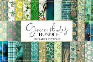 Print on Demand: Green Shades BUNDLE Digital Paper Graphic Patterns By beracaink